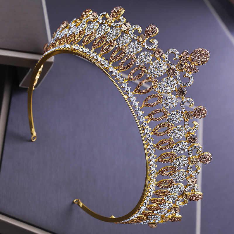 2018新しい豪華なラインストーンウェディングゴールドティアラクラウンブライダルクリスタル女王王冠大ティアラ花嫁かぶと飾りML622