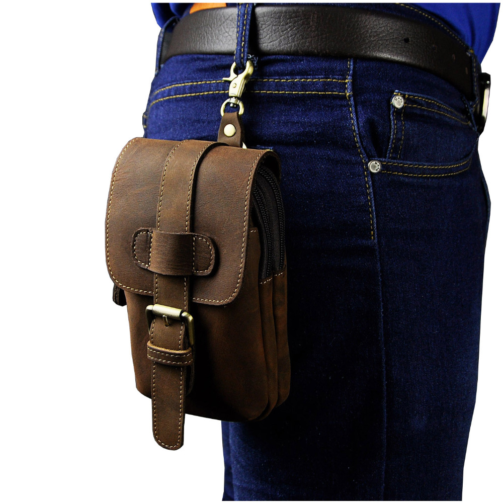 Real Leather Men Casual Design Small Waist Bag Pouch Cowhide Fashion Hook Waist Belt Pack Cigarette Case Phone Pouch 014