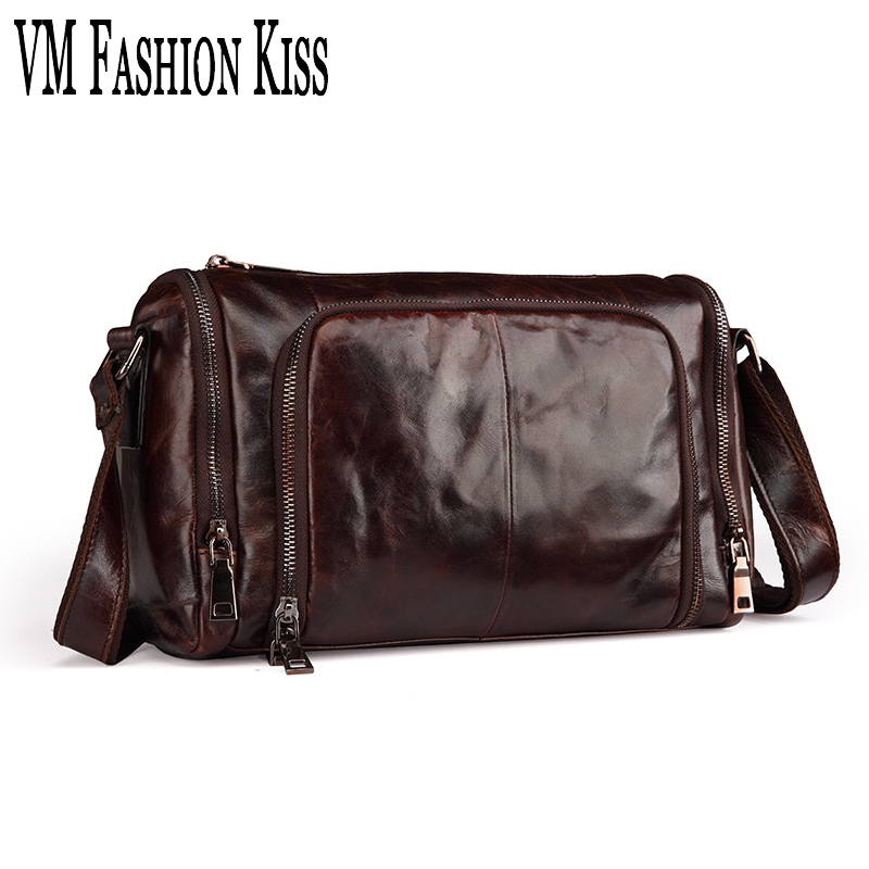 VM FASHION KISS Oil Wax Real Leather Messenger Bag For Men High Quality Soft Genuine Leather Casual Pillow Male Shoulder Bags asus m4a78 vm desktop motherboard 780g socket am2 ddr2 sata2 usb2 0 uatx second hand high quality
