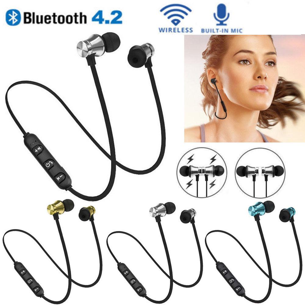 Sport Bluetooth Earphones stereo music wireless headphone earphone for phone Magnetic Headset headphone with Microphone magnetic attraction bluetooth earphone headset waterproof sports 4.2