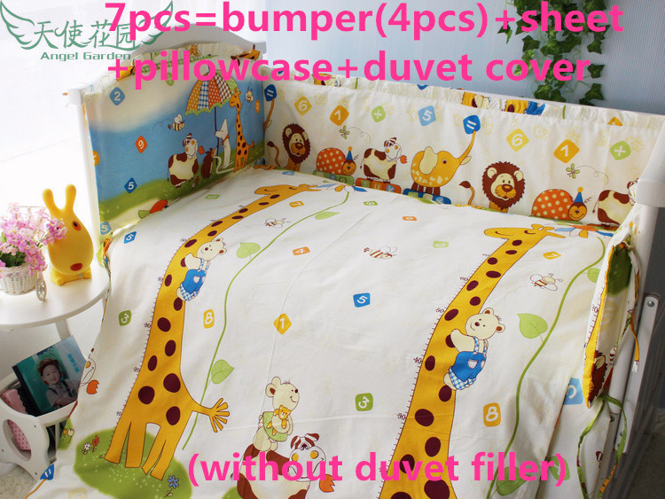 6/7PCS Giraffe Baby Crib Bedding Set Cotton Material Jogo De Cama Crib Bumper Cushion Safety Protector , 120*60/120*70cm