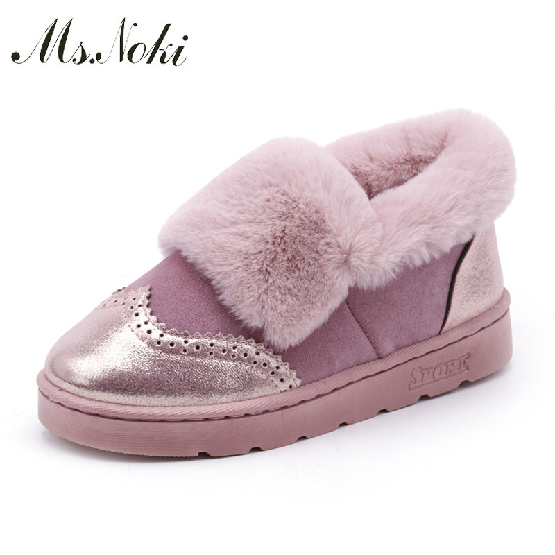 Ms. Noki Warm Fur Women Winter Boots Female Ankle Boots Platform Warm Snow Boots Ladies Pu Shoes Woman Botas Size Boot 2016 rhinestone sheepskin women snow boots with fur flat platform ankle winter boots ladies australia boots bottine femme botas