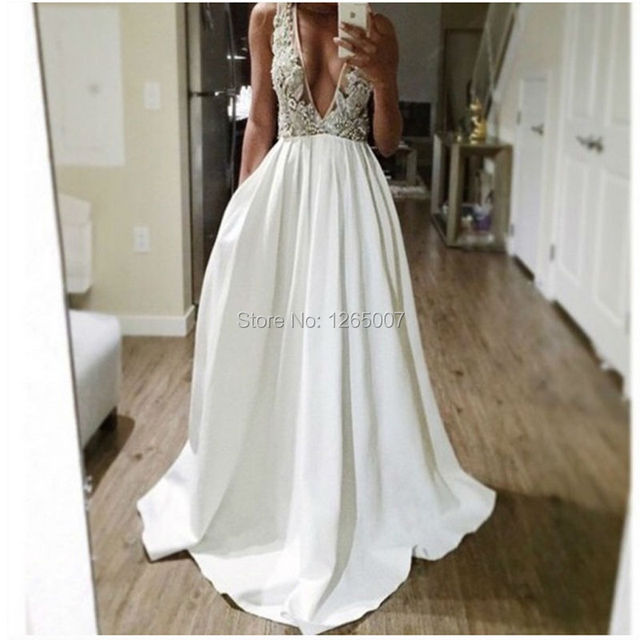 2b8fe52c280179 Fashion Deep V Neck Sparkly Beaded Crystal Top Long A Line White Prom  Dresses Sexy New