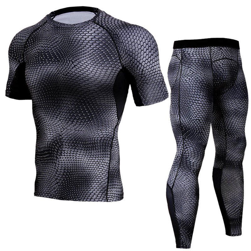 2019 New Fashion Quick-drying Men's Suit Round Neck Tight Snake Print Breathable Fitness Running Short-sleeved Men's Clothing