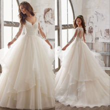 Silky Organza A-line Wedding Dress 2019 V-neck