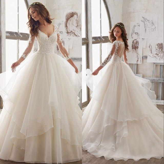 Silky Organza lace A Linha de Vestido De Noiva De Luxo Vestido de Casamento Da Noiva 2019 novo vestido de Noiva Sexy Com Decote Em V Illusion Robe de mariee