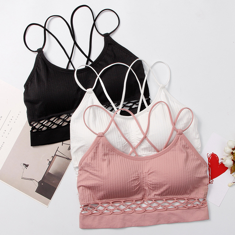 Deruilady Summer Bra Sexy Back Seamless Wire Free Underwear Women Hollow Out Bras for Wo ...