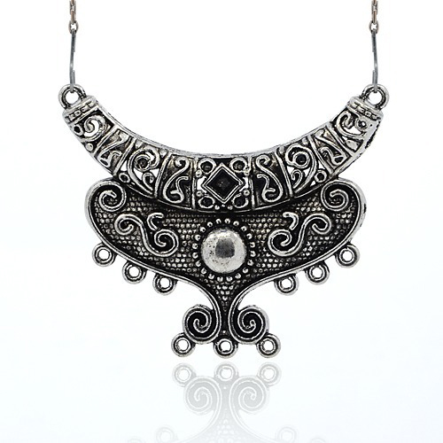 5pcs Antique Silver Moon Tibetan Style Alloy Chandelier Component Links for Necklace Jewelry Making 53x62.5x7mm Hole: 2mm