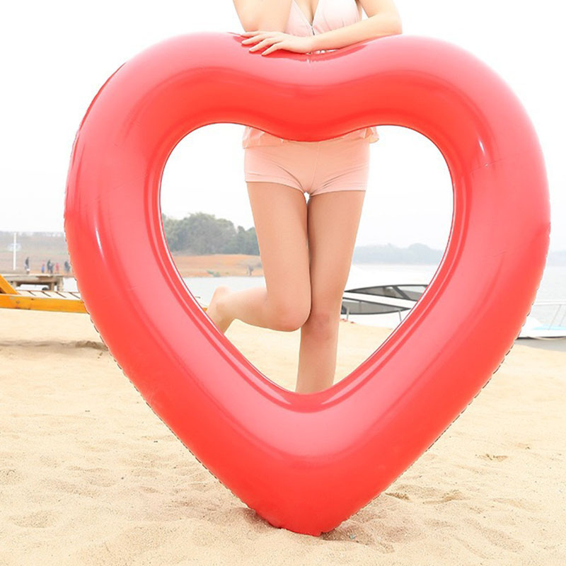 1 Piece Adult Inflatable Heart Swimming Rings Kid Toys Beach Water Play Float Waist Circle Swim Accessories