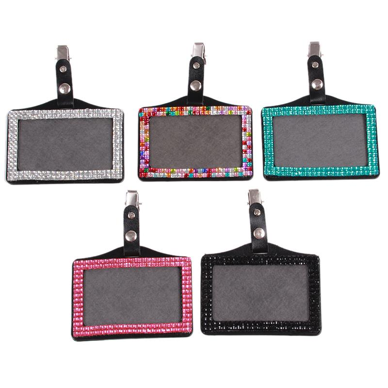 Card & Id Holders Able Unisex Card Holder Pu Leather Rhinestone Bus Ic Card Holder With Clip Employee Identity Card Badge Crystal Work Card Id Case 100% High Quality Materials