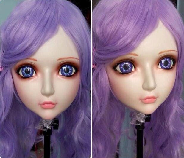 love Female Sweet Girl Resin Half Head Kigurumi Bjd Mask Cosplay Japanese Anime Role Lolita Mask Crossdress Doll Good Heat Preservation zhi-03 Kids Costumes & Accessories