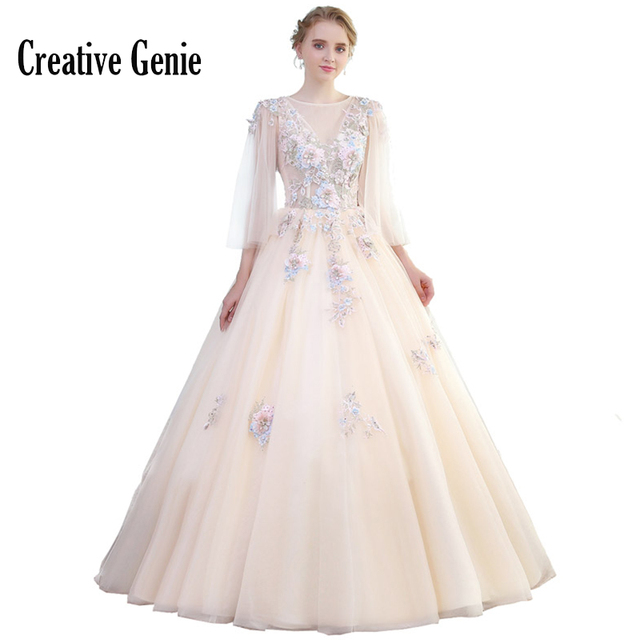 Champagne Party Dress 2018 Vestido De Formatura Plus Size Long Prom Dresses Three Quarter Sleeve Special Occasion Dresses