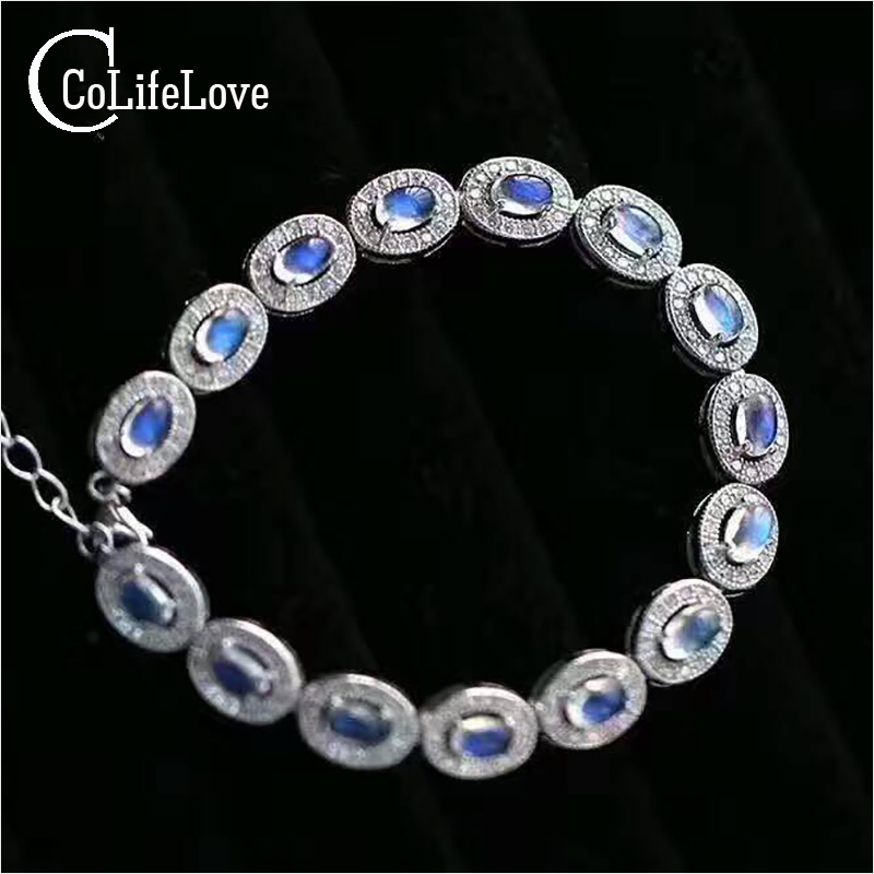 Classic silver opal bracelet 7.5ct 15pcs real moonstone bracelet solid 925 sterling silver bracelet luxury gift for girl