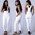 Новый 2016 мода комбинезон Женщины хлопка стрейч тощий сексуальные белые джинсы комбинезон Женщины Army green комбинезоны комбинезоны m102