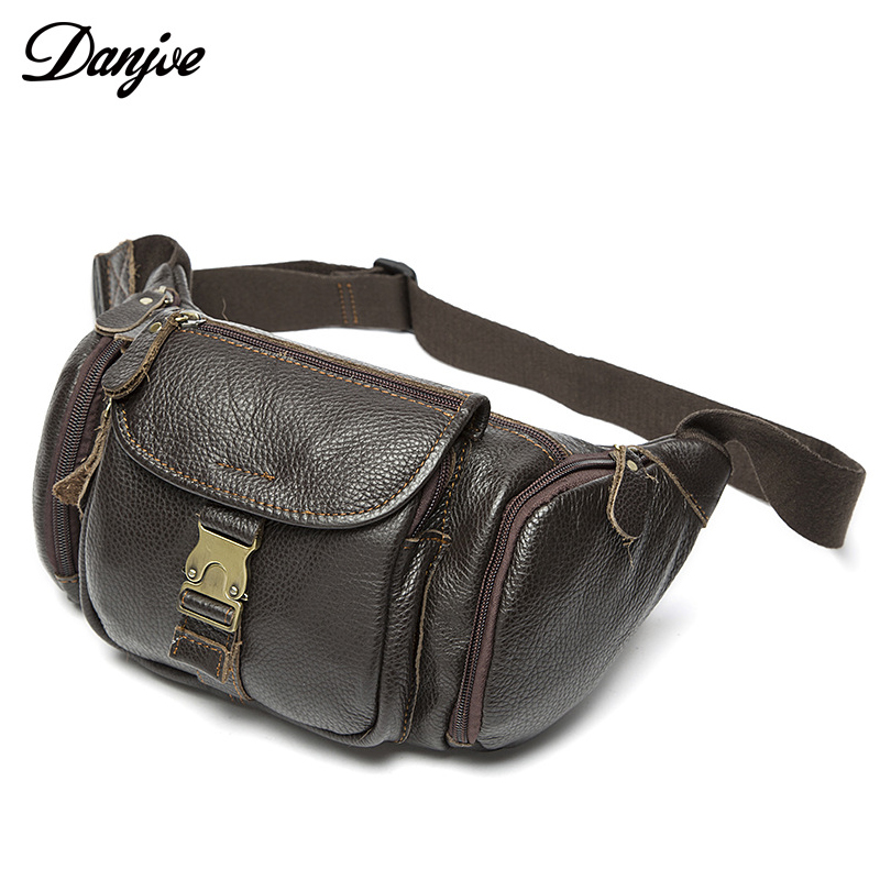 Genuine Leather Waist Packs Fanny Pack Man Belt Bag Phone Pouch Bags Travel Waist Pack Male Waist Bag for Men Leather Pouch