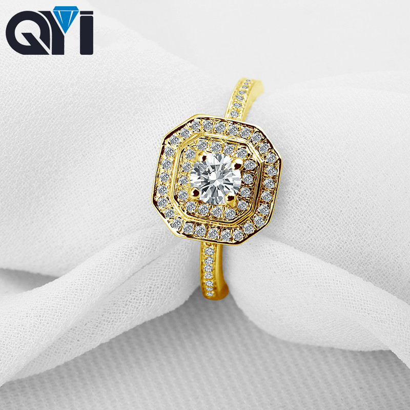QYI 14K Solid Yellow Gold Double Halo Rings Women jewelry Round Cut Sona Simulated Diamond Engagement Ring For Wedding