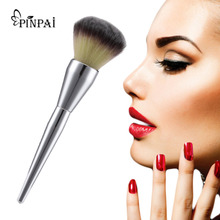 1pcs Large Silvery handle Cosmetics Brush Beauty Product Loose Powder Brush Makeup Blush Foundation Brush 2017 New Make Up