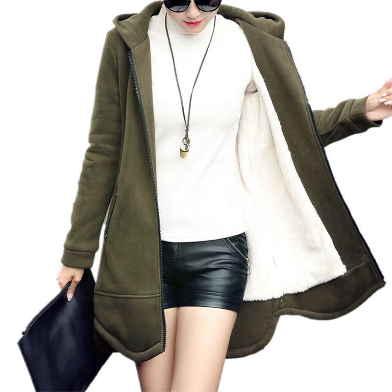 Autumn Winter Coat Women Hoodies Sweatshirt Casual Long Zipper Plus Size Jacket Hoodies Sweatshirt Outerwear Slim Warm Coat Q594