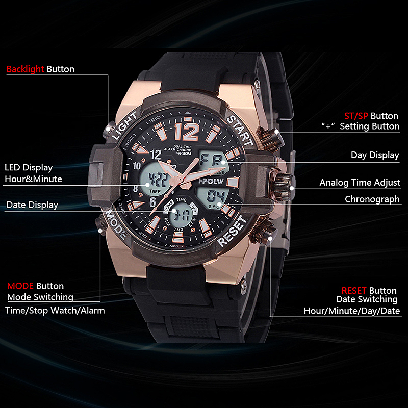 resistant fashion relogio p men man wristwatch steel naviforce display rose luminous male watches stainless musculino dual gold digital watch water