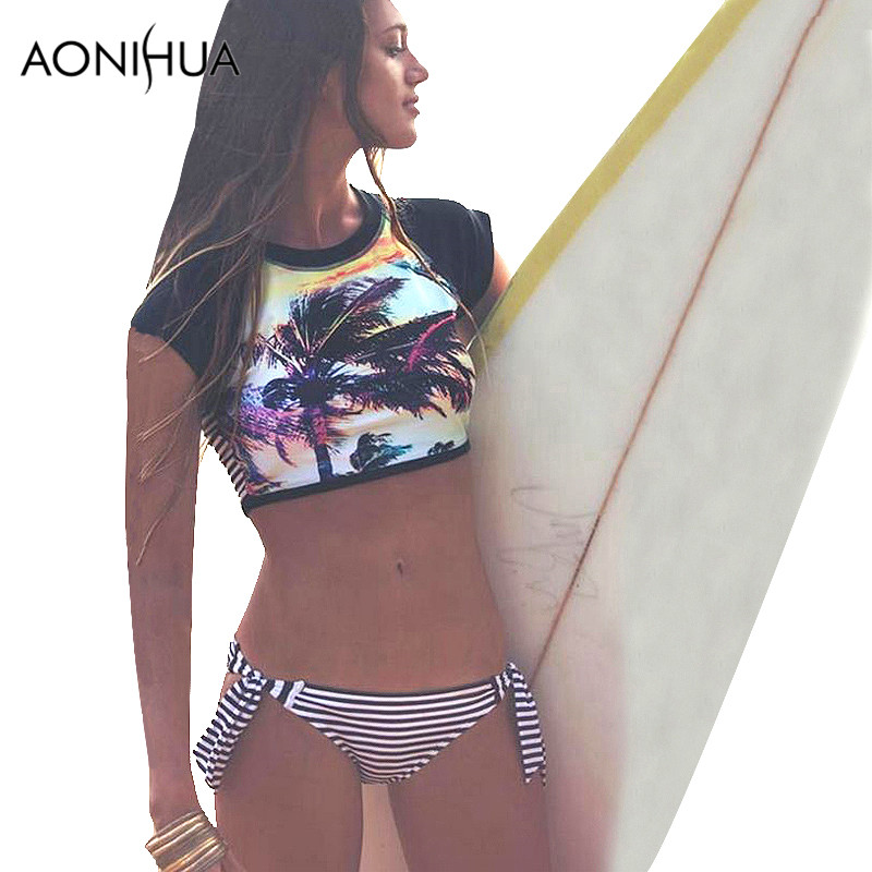 AONIHUA Bikini Set for Women 2018 New Palm Print Halter Retro High Waist Two Piece Swimwear Brazilian Striped Beach Swimsuit palm leaf print elastic waist skirt