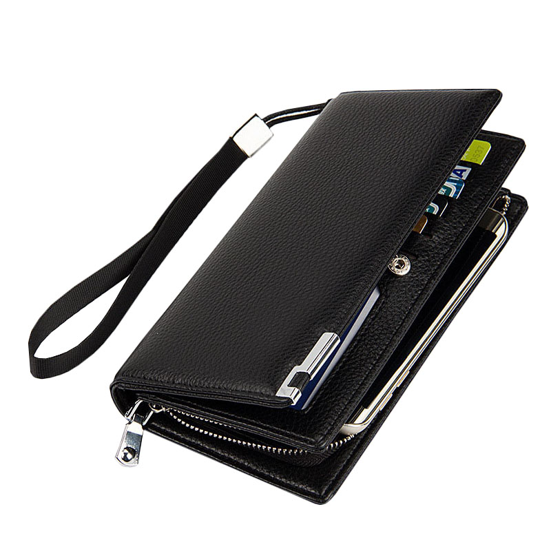 2016 Famous Brand Men Genuine Leather Business Clutch Wallets Solid Multifunction Long Purse Dollar Price Male's Casual HandBag pair of trendy rhinestone oval leaf earrings for women