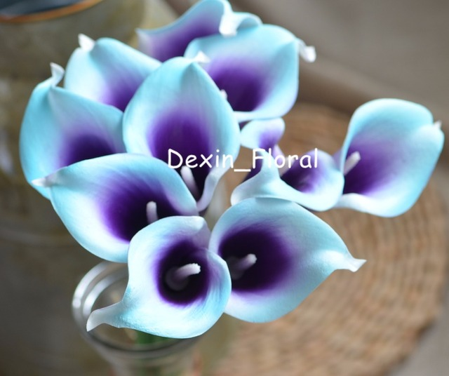 Aqua Blue Purple Picasso Calla Lilies Real Touch Flowers For Silk