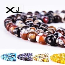XJ Natural Fire Agates Stone Round Loose Beads 38cm a Strand 8mm Pick Size For Jewelry Making DIY Bracelet