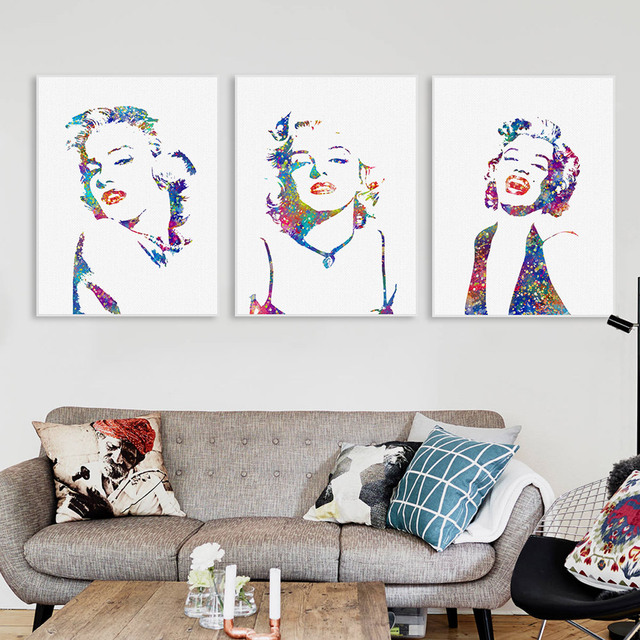 Watercolor Marilyn Monroe Portrait Pop Vintage Canvas Art Print Poster Wall Picture Living Room Decor Painting No Frame