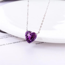 wholesale luxury trendy 925 sterling silver Amethyst natural gemstone pendant necklace for wedding engagement