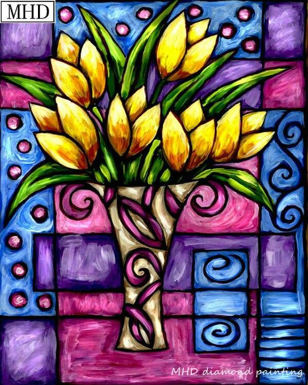 Patrón de flores de vidriera 5d diy pintura de diamante decoración del hogar pintura completa redonda/cuadrado rhinestone kit de arte HOMFUN taladro cuadrado/redondo completo 5D DIY pintura de diamante