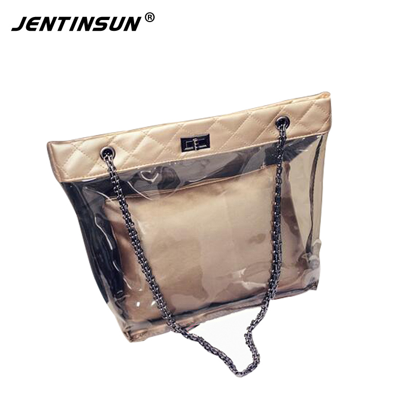 цена на Waterproof Transparent Composite Handbag Women  Crystal Bag Female Shoulder Messenger Chain Women Bags Lady Crossbody Bags