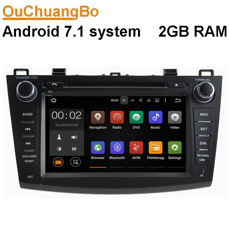 Ouchuangbo car audio dvd gps <font><b>radio</b></font> for <font><b>Mazda</b></font> <font><b>3</b></font> <font><b>2010</b></font> 2011 support 3G wifi BT 2G RAM AUX android 7.1 OS 2GB RAM image