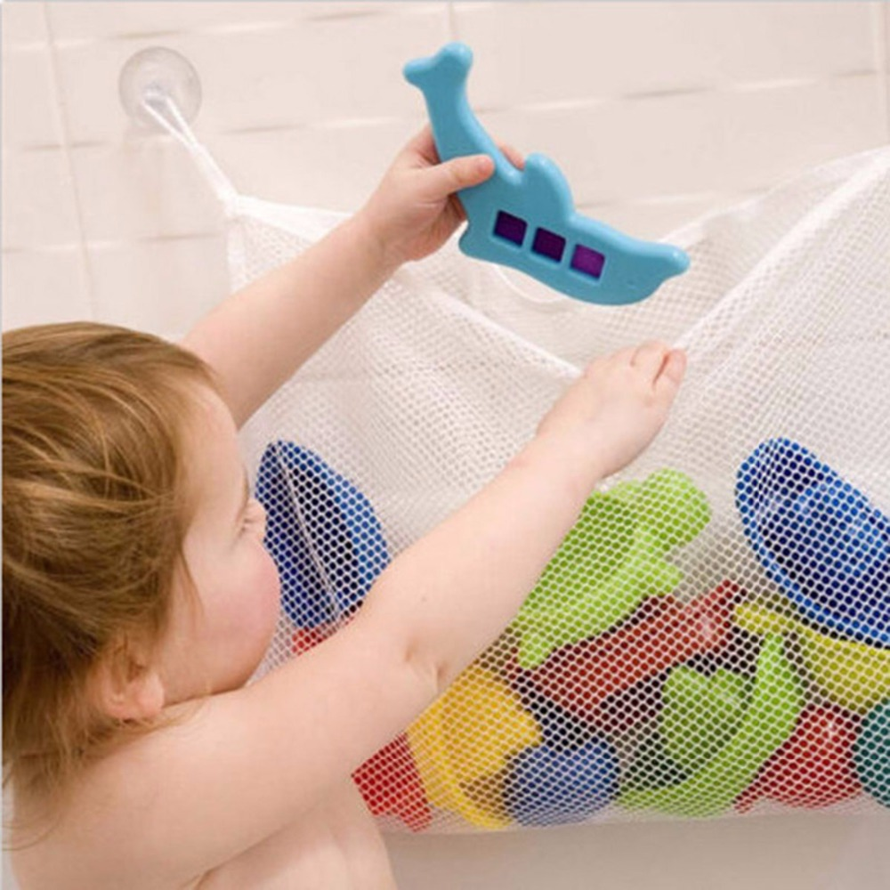 Baby Bath Net Suction Storage Folding Hanging Mesh Net Bag Eco-Friendly Bathroom Shower Toy Organizer Fun Time Bath Tub Toys