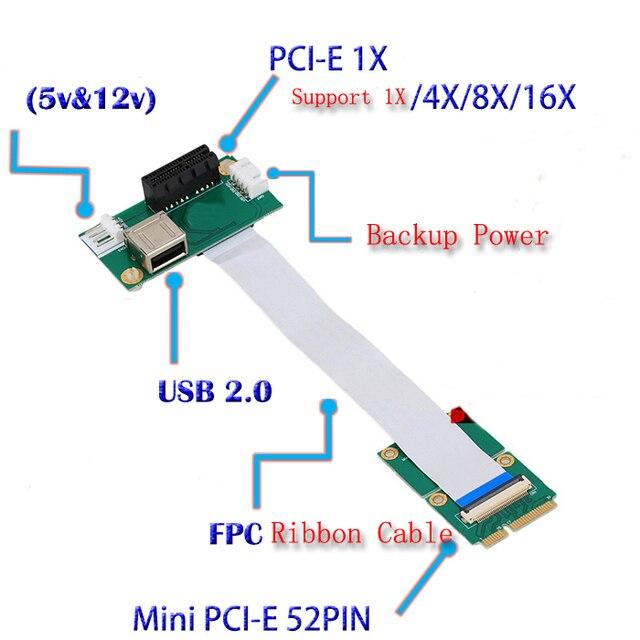 Laptop Mini PCI E to Desktop PCI E 1X Adapter Converter