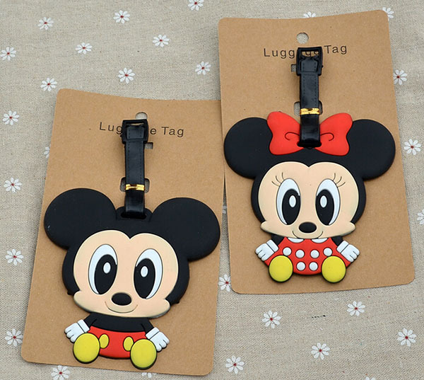 IVYYE 1PCS Mouse Couple Stitch Anime Luggage Tag Travel Accessories Suitcase ID Address Portable Tags Holder Baggage Labels New