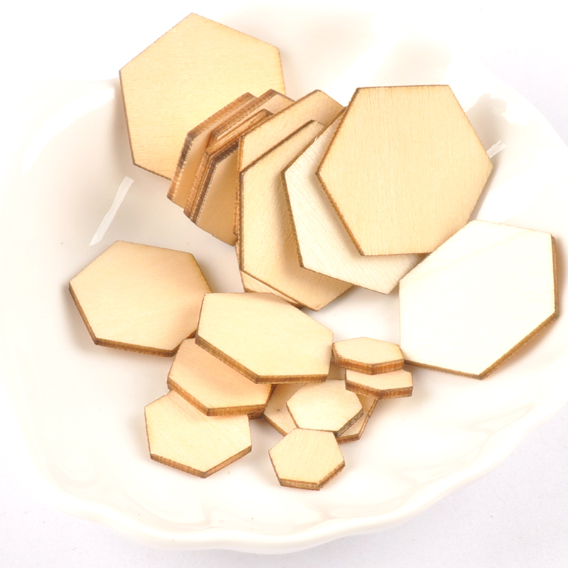 50pcs 10-50mm Wooden Crafts Hexagonal Pieces Scrapbooking Crafts Wood Decoration For Home Decoration M2132X