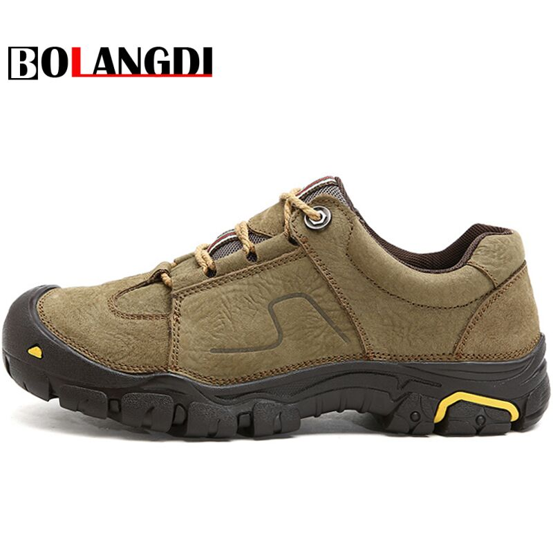 Bolangdi Outdoor Genuine Leather Waterproof Men's Hiking Shoes Explore Walking Sneakers Wear-Resistance Sports Shoes Size 38-45 aqua two outdoor camping men sports hiking shoes genuine leather boots walking sneakers wear resistance lace up shoes es 101022