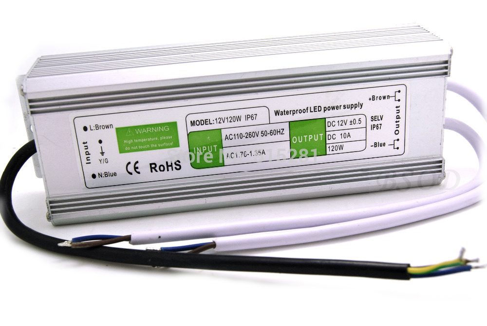 ФОТО 10 Pack 120W Waterproof Switching Power Supply Output DC12V 10A Dual Channels IP67 Transformer Driver for LED Light etc