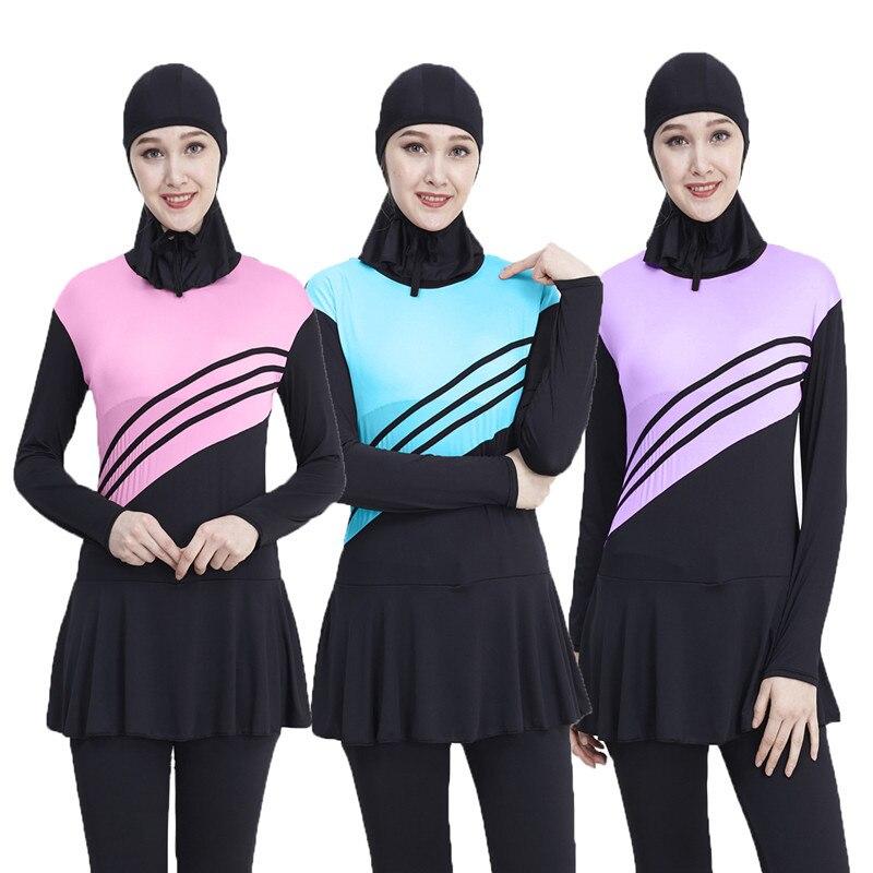 2019 Arabian Swimsuit Ladies Muslim Swimwear Conservative Swimwear One-piece Swimsuit L-5XL Offshore Beach Swimming Pool Home