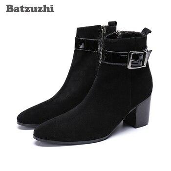 Batzuzhi Korean Type Men Boots Pointed Toe Black Suede Ankle Boots Men Knight Party Boots for Men Bota Masculina, Big US6-12