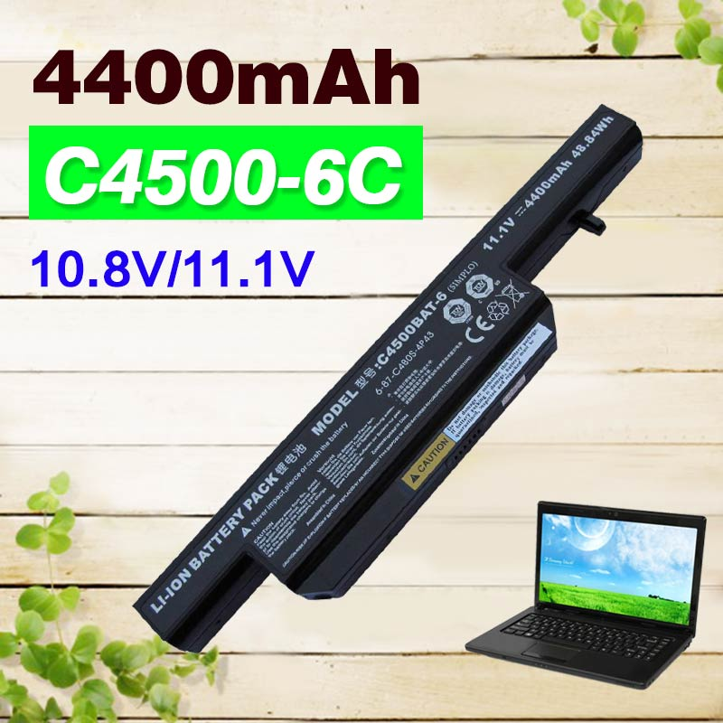 6 Cells 4400mAh Laptop battery for Clevo C4500BAT 6 C4500BAT-6 C4500 C4500Q C4501 C4505 W150 6-87-C480S-4P4 KB15030 W150ER