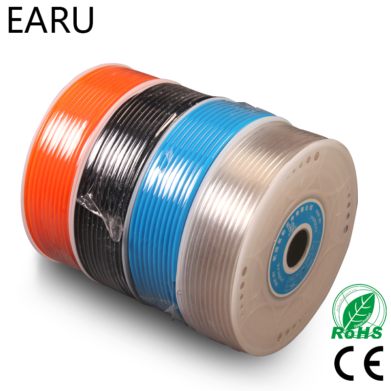 1Meter Pneumatic Component PU Tube Air Hose Pipe PU 4*2.5mm 6*4mm 8*5mm 10*6.5mm 12*8mm 14*10mm 16*12mm Connector Connect Plug