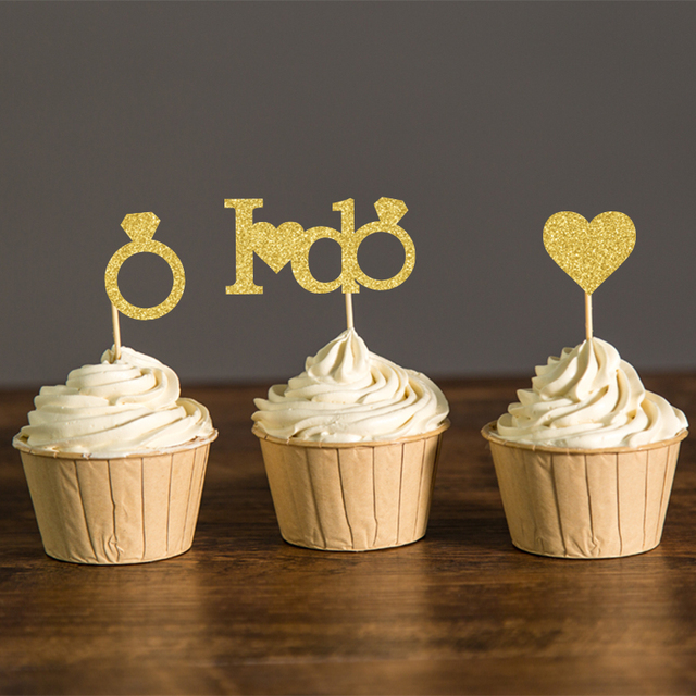 Gold or silver glitter i do wedding cupcake toppers bridal shower gold or silver glitter i do wedding cupcake toppers bridal shower party picks engagement party favors junglespirit Choice Image