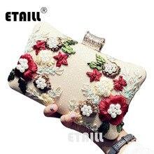 цены на ETAILL Embroidered Brand Women Evening Bag 2018 Party Banquet Glitter Bag For Women Girls Wedding Clutches Chain Shoulder Bag  в интернет-магазинах