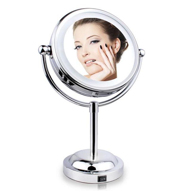 Espejo de maquillaje 2016 Venta Caliente de La Manera mujeres de la señora de 6 Pulgadas Led Mesa de Espejo de Maquillaje Espejo de maquillaje profesional conjunto de salud y beaut D604