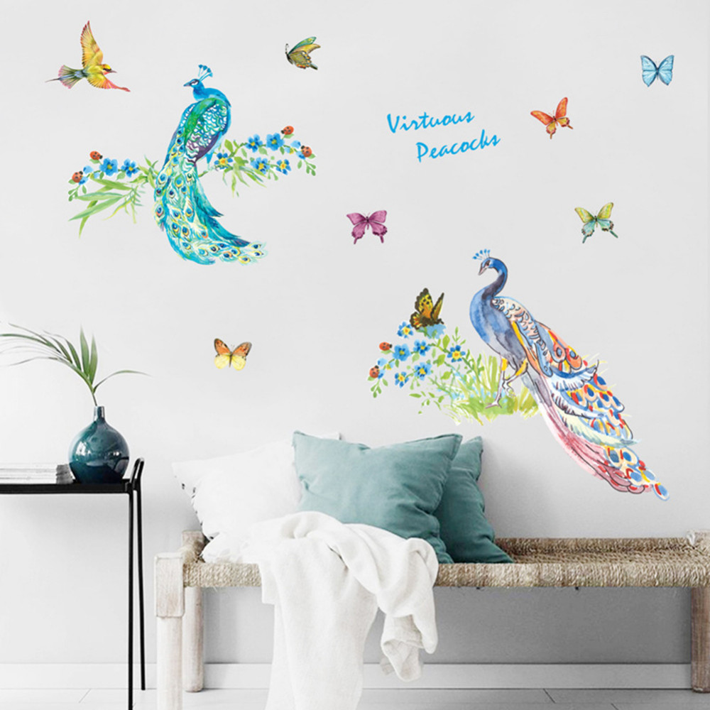 Peacock Wall Stickers 3D Vinyl Wall Decals Home Decor Sticker Living Room  Bedroom Art Decal Kidu0027s Room Animals Decorations In Wall Stickers From Home  ...