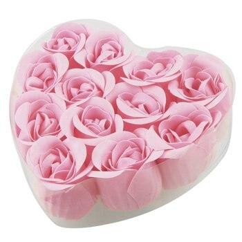 12 個水着ピンクローズ芽花びら石鹸 + ハート形ボックス