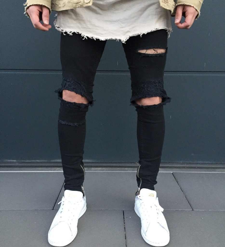 Pantalones Vaqueros Rasgados Flacos Para Hombre Pantalones De Hip Hop Negros Con Detalle De Cremallera Pantalones Ajustados Con Agujeros En La Rodilla Vaqueros De Moda Para Novio Elasticos Distressed Jeans Jeans Pants For Menjeans