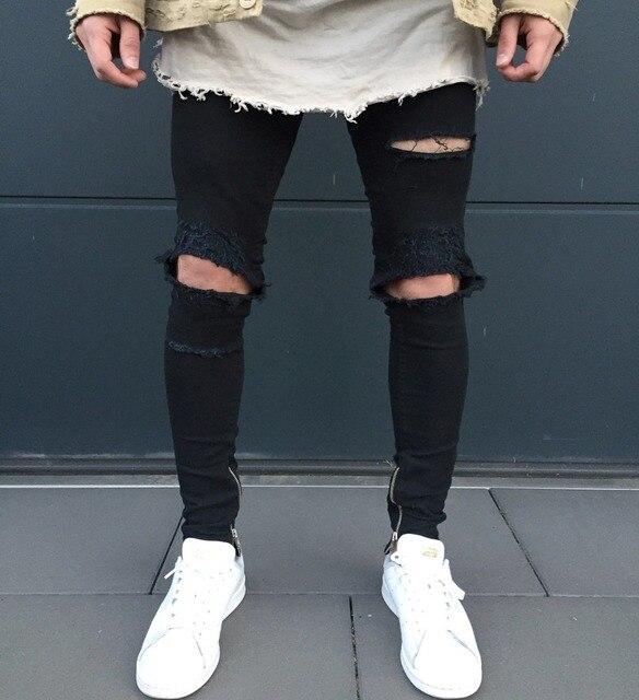 a3d38b77df869 Skinny déchiré Jeans hommes Joggers Hip Hop pantalon noir avec Zip détail Slim  pantalon trou au