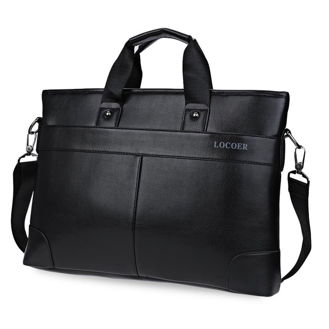 Men Black Leather Bag Male Messenger Shoulder Bag Business Laptop Satchel Men's Briefcase Handbag Large Shoulder Bags Book Tote
